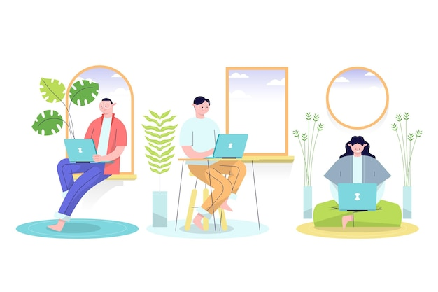 Flat-hand drawn remote working illustration