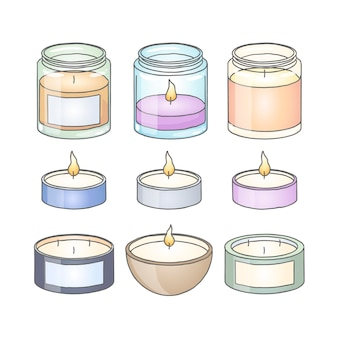 Flat-hand drawn scented candle collection