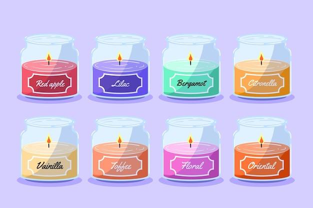 Collezione di candele profumate disegnate a mano piatta