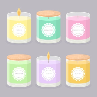 Flat-hand drawn scented candle illustration collection