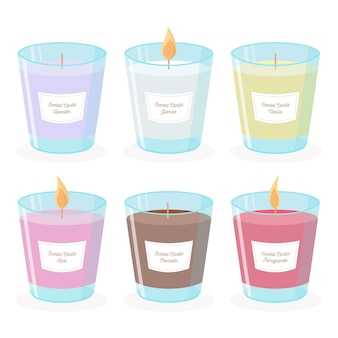 Flat-hand drawn scented candle illustration set