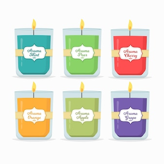 Flat-hand drawn scented candle pack Premium Vector