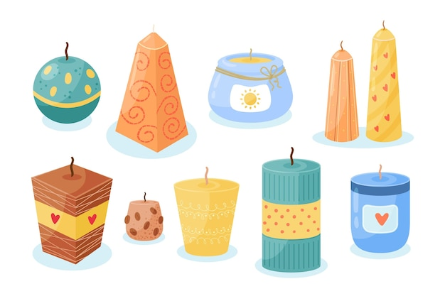 Flat-hand drawn scented candle pack
