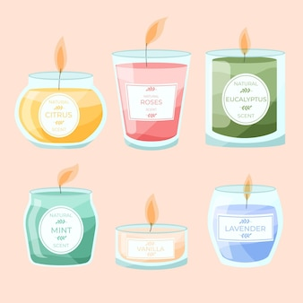 Flat-hand drawn scented candle set