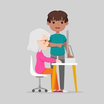 Плоские рисованные пожилые люди с использованием технологии иллюстрации
