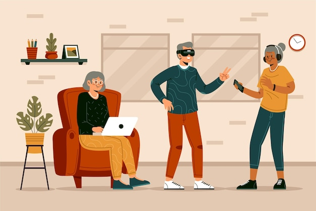 Anziani disegnati a mano piatta utilizzando l'illustrazione della tecnologia