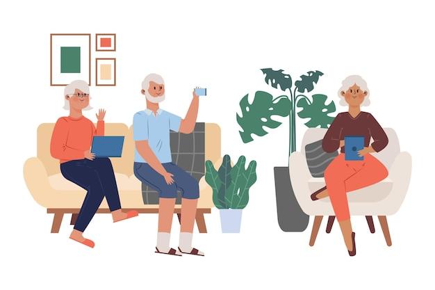 Flat-hand drawn seniors using technology illustration