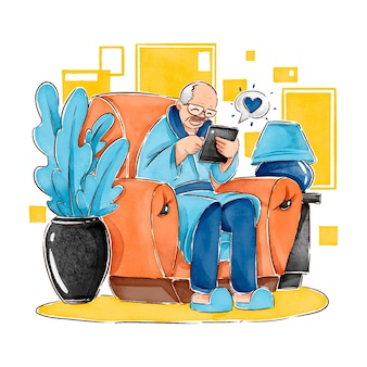 技術イラストを使用してフラット手描きの高齢者