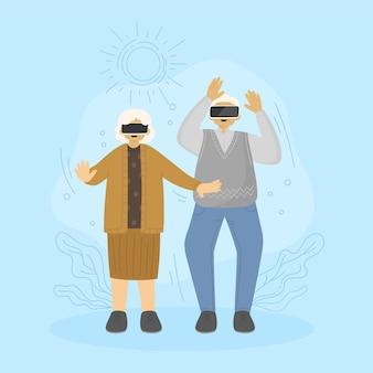 Flat-hand drawn seniors using technology