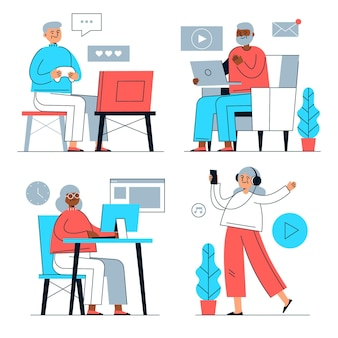 テクノロジーを使用したフラット手描きの高齢者