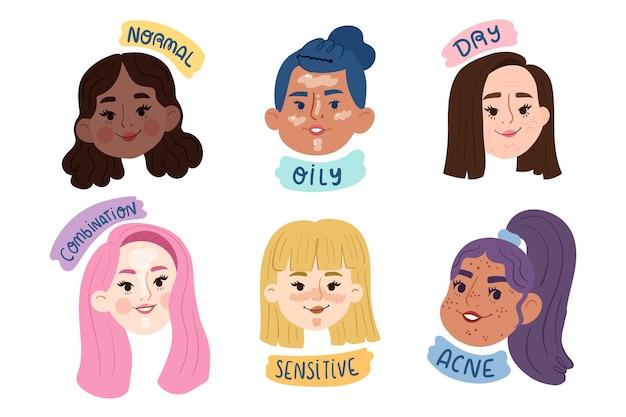 Flat-hand drawn skin types