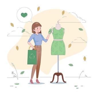 フラット手描きの持続可能なファッションの概念