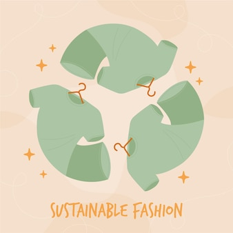 Flat-hand drawn sustainable fashion illustration with clothes