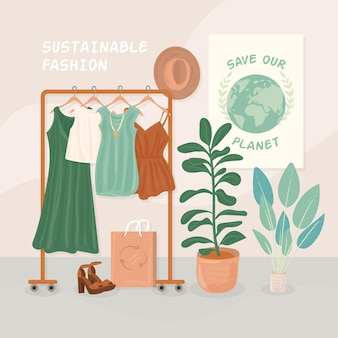 Flat-hand drawn sustainable fashion illustration with hanger and clothes