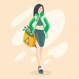 スタイリッシュな女性とフラット手描きの持続可能なファッションイラスト