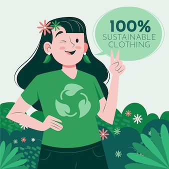 Flat-hand drawn sustainable fashion illustration with woman winking and showing peace sign