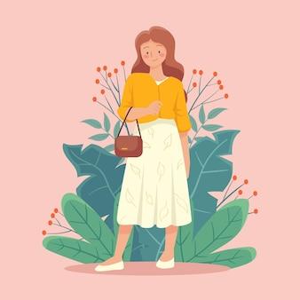 Flat-hand drawn sustainable fashion illustration