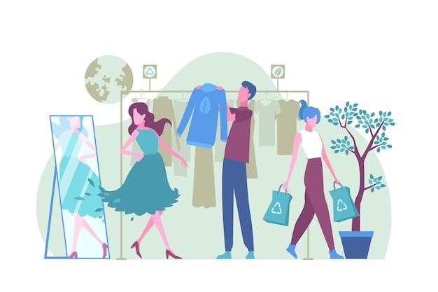 Illustrazione di moda sostenibile disegnata a mano piatta