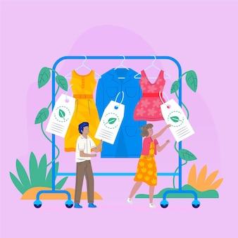 Плоская рисованная иллюстрация устойчивой моды