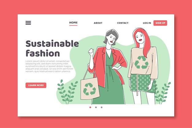 フラット手描きの持続可能なファッションのランディングページテンプレート