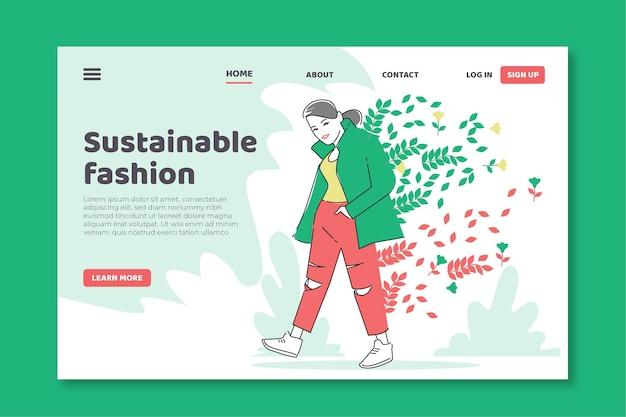 평면 손으로 그려진 지속 가능한 패션 방문 페이지 템플릿