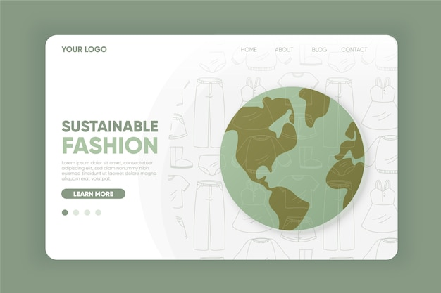 Flat-hand drawn sustainable fashion landing page template
