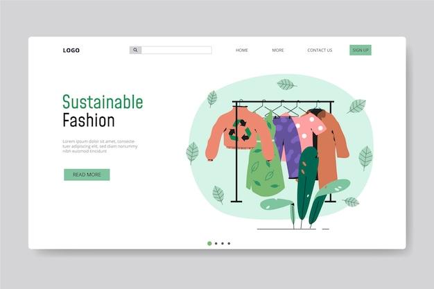 Modello di pagina di destinazione della moda sostenibile disegnato a mano piatta