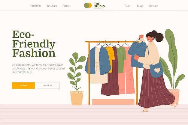フラット手描きの持続可能なファッションのランディングページ