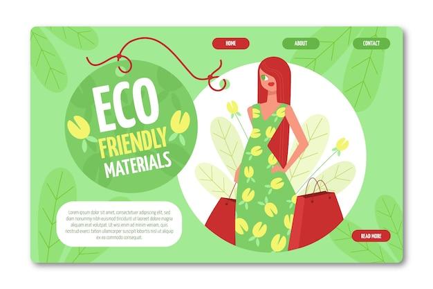Pagina di destinazione della moda sostenibile disegnata a mano piatta