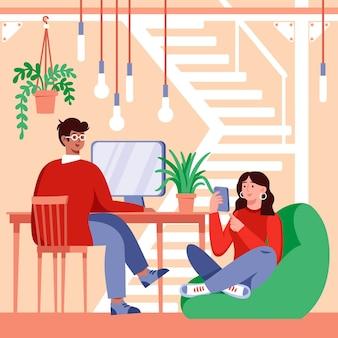 Плоская рисованная команда, работающая в одной комнате