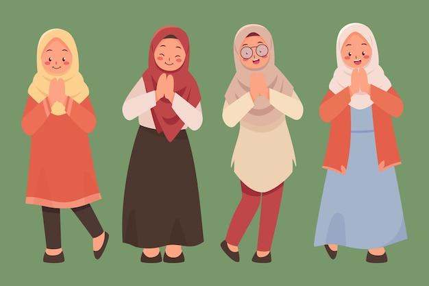 Плоская рисованная девушка-подросток мусульманка