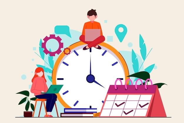 평면 손으로 그린 시간 관리 개념