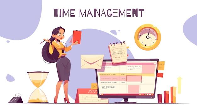 Concetto di gestione del tempo disegnato a mano piatta