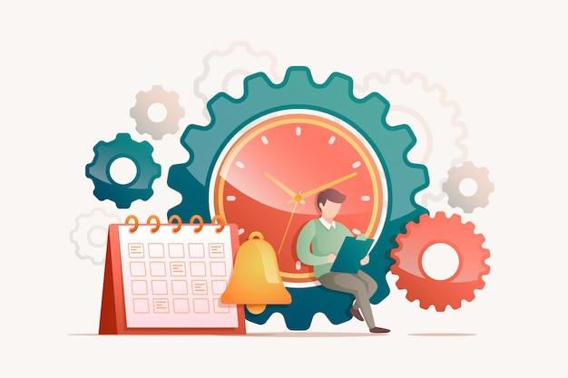 フラット手描きの時間管理の概念