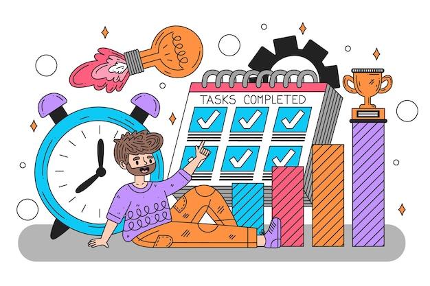 Плоская рисованная иллюстрация тайм-менеджмента