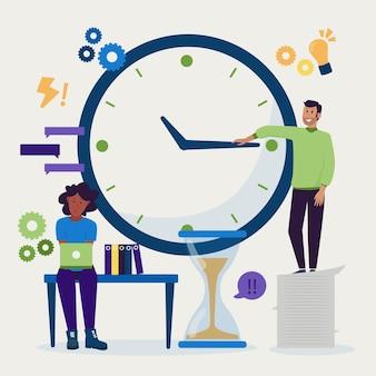 フラット手描き時間管理イラスト