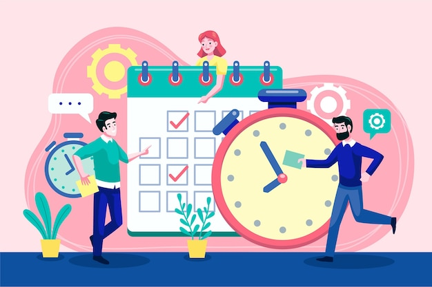 Flat-hand drawn time management illustration