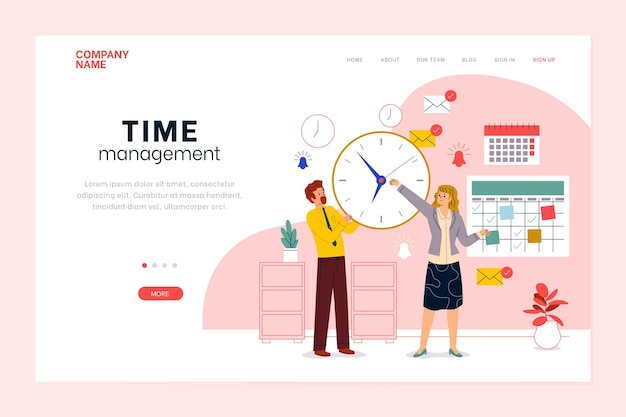 Flat-hand drawn time management landing page template