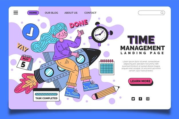 Целевая страница тайм-менеджмента, нарисованная от руки