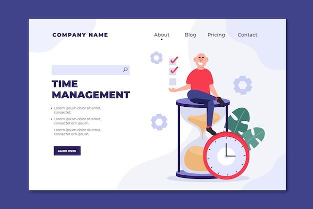 Pagina di destinazione della gestione del tempo disegnata a mano piatta