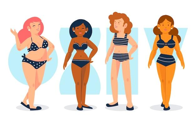 Insieme di tipi di forme del corpo femminile disegnati a mano piatta
