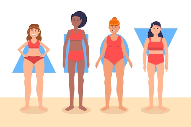 Tipi di forme del corpo femminile disegnati a mano piatta