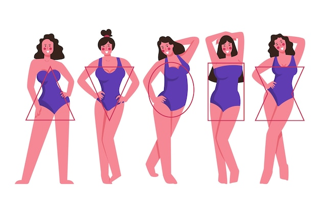 Flat-hand drawn types of female body shapes