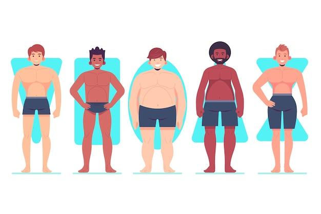 Tipi disegnati a mano piatta della raccolta di forme del corpo maschile