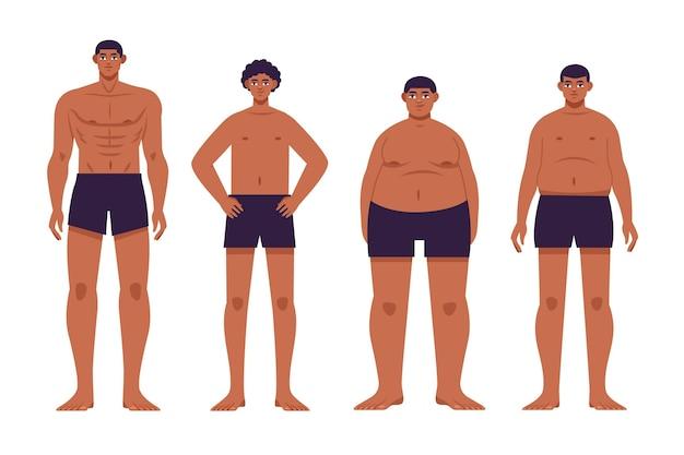 Tipi disegnati a mano piatta dell'illustrazione di forme del corpo maschile