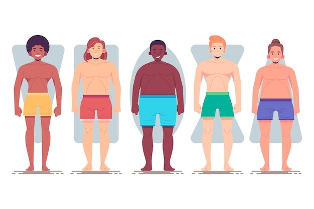 Tipi di forme del corpo maschile disegnati a mano piatta Vettore gratuito