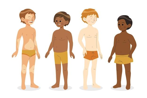 Tipi di forme del corpo maschile disegnati a mano piatta