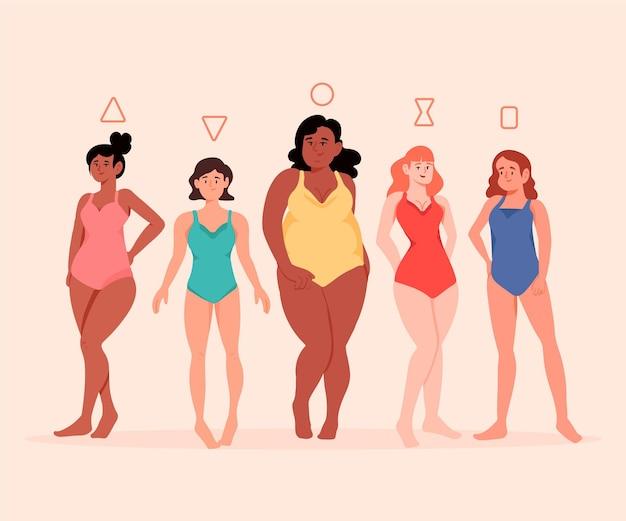 Набор плоских рисованных типов женского тела