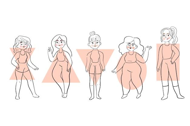 플랫 손으로 그린 유형의 여성 신체 모양 세트
