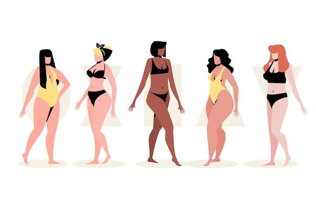 Плоские рисованные типы женского тела